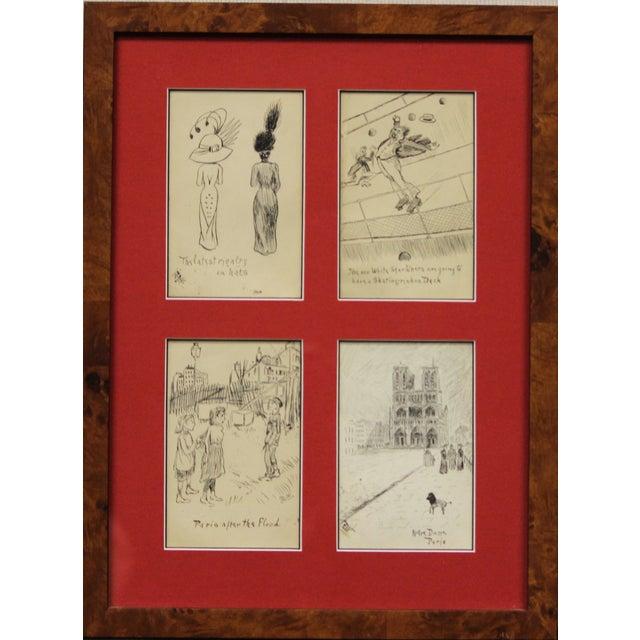 Set of 4 Framed Postcard Pen & Ink Drawings - Image 1 of 6
