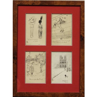 Set of 4 Framed Postcard Pen & Ink Drawings