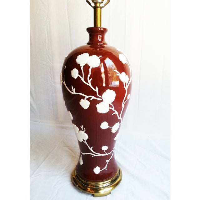 Image of Vintage Cherry Blossom Motif Ceramic Lamp