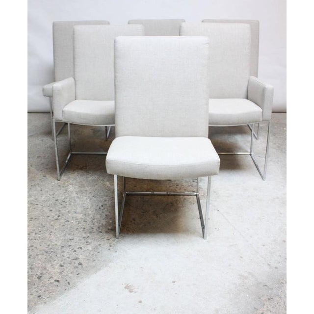 Set of Six Milo Baughman 'Thin Line' Chrome Dining Chairs - Image 2 of 11
