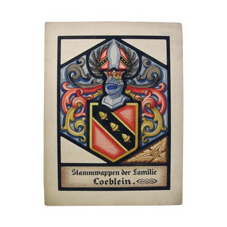 Loeblein Family Crest Painting by Oswald Fell