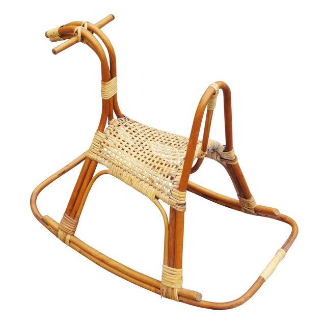 Sculptural Vintage Rattan Rocking Horse - Image 4 of 7