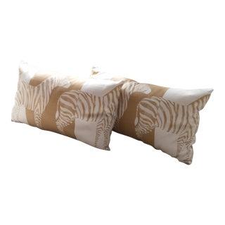 Serengeti Gold & White Zebra Pillows - A Pair