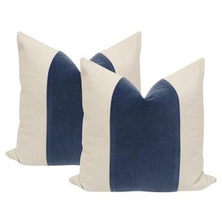 """22"""" Prussian Blue Velvet Panel & Linen Pillows - a Pair"""