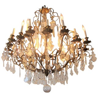 Palatial Bronze & Crystal Thirty-Light Chandelier