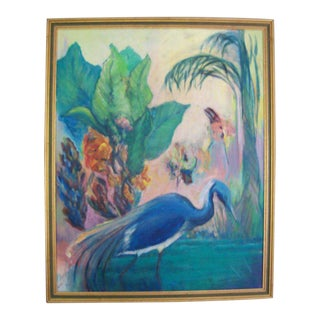 Tropical Bird Landscape Painting on Canvas, 1940s