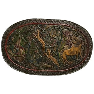 Carved Wood Plaque Depicting Animals