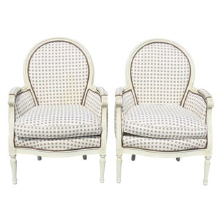 Louis XVI Style Distressed Painted Bergeres - A Pair