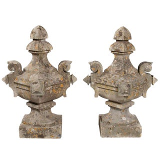 French Limestone Gate Finials - A Pair