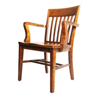 Vintage Wood Banker Arm Chair