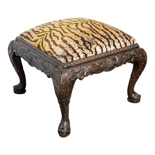 Antique Chippendale Hand Carved Mahogany & Tiger Velvet Ottoman
