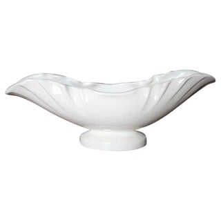 Weller Pottery Ivory Scalloped Edge Oval Planter