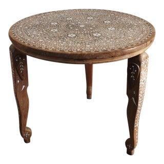"Vintage Anglo-Indian Bone Inlaid 20"" Round Teak Table"