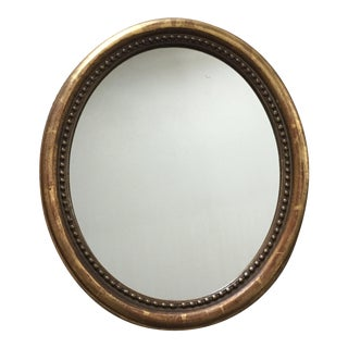 Antique Gold Leaf Oval Wood Mirror