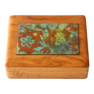 Olive Wood Enameled Copper Box by Oliv-Art Spain