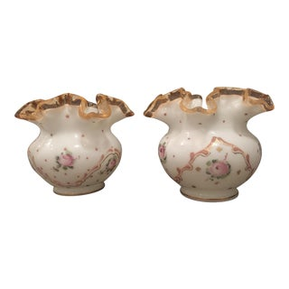 Fenton Hand Painted Milk Glass Ruffled Bowls - A Pair