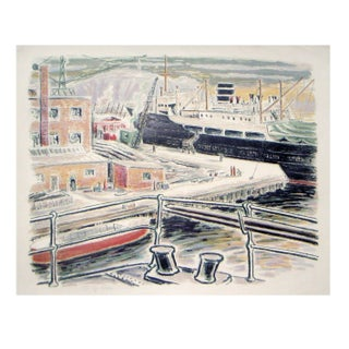 Alexanderson Swedish Harbor 1940s Color Lithograph