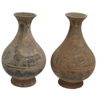 Pair of Small Decorative Painted Vases, China, Contemporary