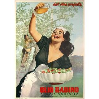 Original Vintage Italian Olive Oil Poster 1950's Boccasile
