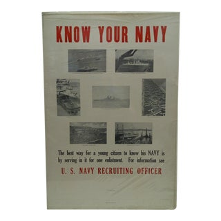 Circa 1930 U.S. Know Your Navy Recruiting Poster