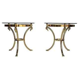 Brass & Glass Side Tables - A Pair