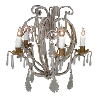 Early 20th Century Italian Venetian Beaded Crystal and Tole Chandelier