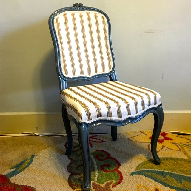 Antique Yellow & Gray Stripe Chair - Image 2 of 7
