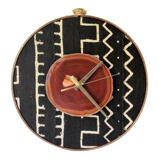 Boho Mudcloth Textile Amber Agate Wall Clock
