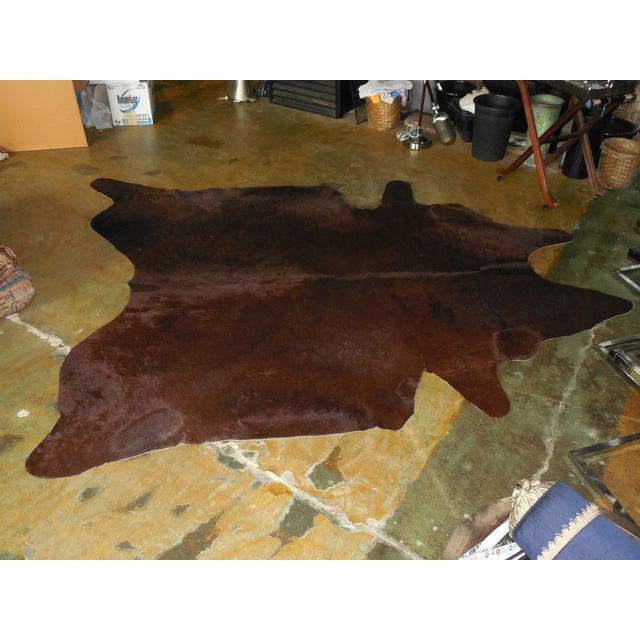 Large Chocolate Brown Cowhide Rug - 7′7″ × 8′10″ - Image 5 of 8