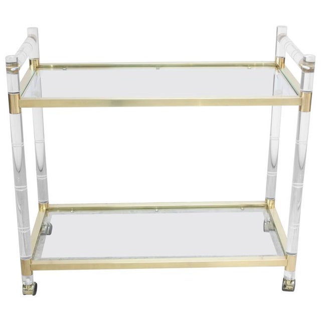 Charles Hollis Jones Lucite Faux-Bamboo and Brass Serving Cart - Image 3 of 11