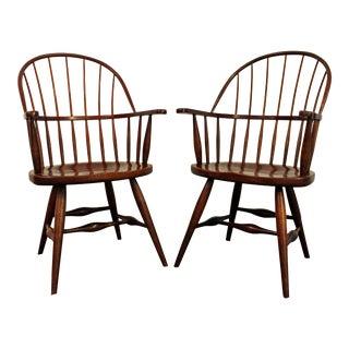 Duckloe Bros Cherry Hoop-Back Windsor Arm Dining Chairs - a Pair