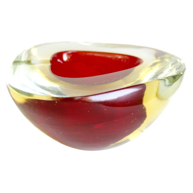 Murano Red & Yellow Sommerso Geode Bowl Ashtray - Image 1 of 5