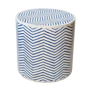 Indian Bone Inlaid Blue Drum Table