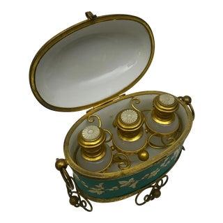 Antique French Porcelain Scent Bottles & Casket Set