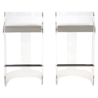Pair of 1970s Lucite Bar Stools in the Style of Charles Hollis Jones