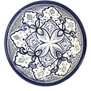 Moroccan Hand-Painted Blue Medium Ceramic Bowl