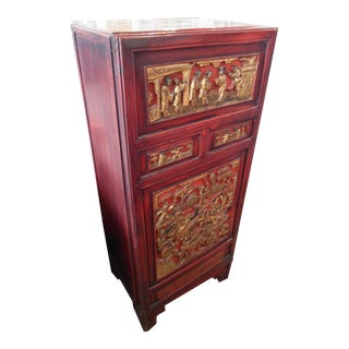 Antique Asian Red Carved Cabinet With Shelves
