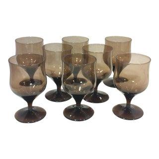 Bronze Crystal Cordial Wine Glasses - Set of 8
