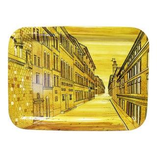 Piero Fornasetti Large Yellow Metal Tray In Prospettiva (Prospective) Pattern