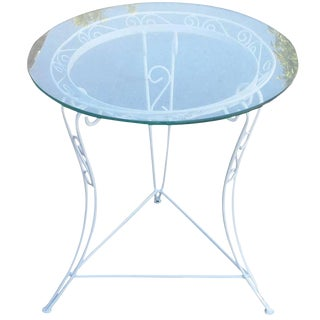 Vintage Glass Top Scrolling Steel Patio Side Table