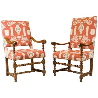 Louis XIII French Walnut Armchairs - A Pair