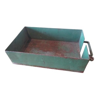 Vintage Industrial Green Painted Steel Drawer Bin Firewood Holder