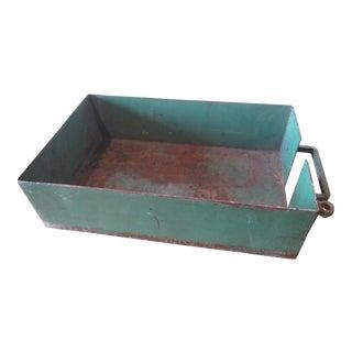 Vintage Industrial Green Painted Steel Drawer Box