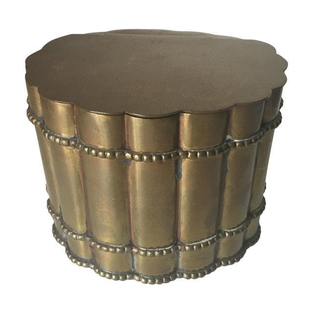 Image of Vintage Brass Faux Bamboo Tea Caddy