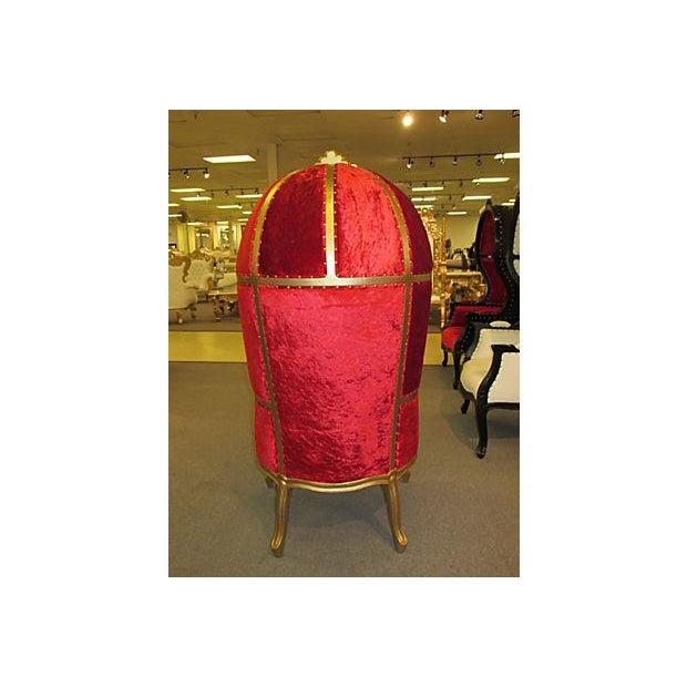 High-Back Velvet Canopy Chair - Image 6 of 8