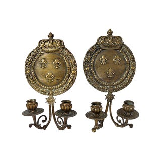 1920s French Bronze Crown Wall Sconces - a Pair