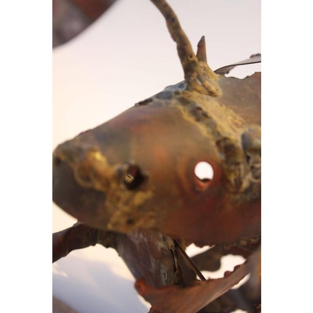 Torch-Cut Mixed Metal 'Bull' Sculpture - Image 5 of 11