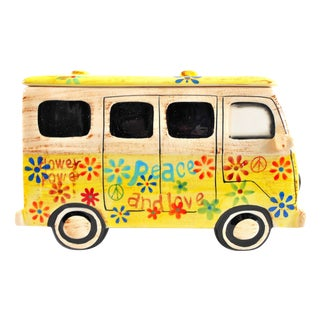 Yellow Hippie Van Ceramic Cookie Jar