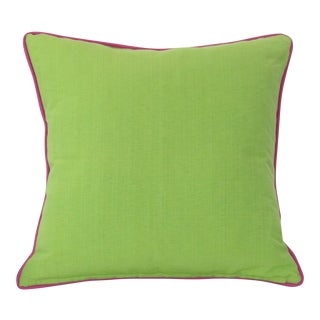 Green Pillow With Pink Contrasting Welt