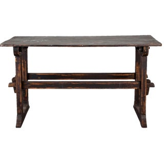 18th-C. Swedish Black Trestle Table